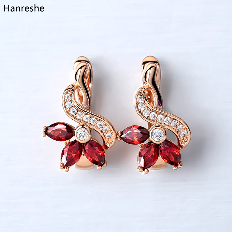HANRESHE Rose Gold Earring Trendy Party Blue Red Stone Earring Shaped Copper Stud Earring Womens Girl Round Fashion Jewelry Gift(China)