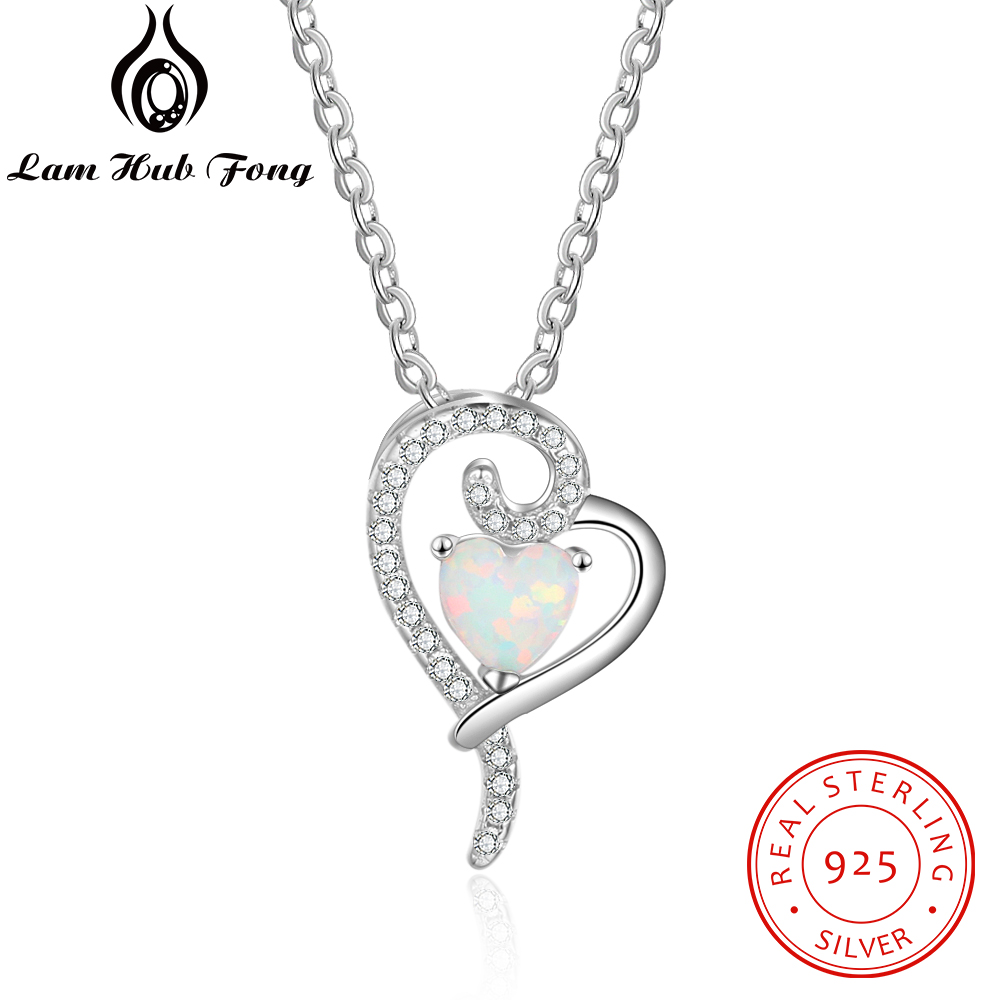 925 Sterling Silver Heart Pendant Necklace Created White Opal Necklace with Zirconia Romantic Gift for Women Lover(Lam Hub Fong)925 Sterling Silver Heart Pendant Necklace Created White Opal Necklace with Zirconia Romantic Gift for Women Lover(Lam Hub Fong)