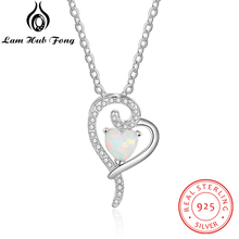 купить 925 Sterling Silver Heart Pendant Necklace Created White Opal Necklace with Zirconia Romantic Gift for Women Lover(Lam Hub Fong) по цене 329.33 рублей