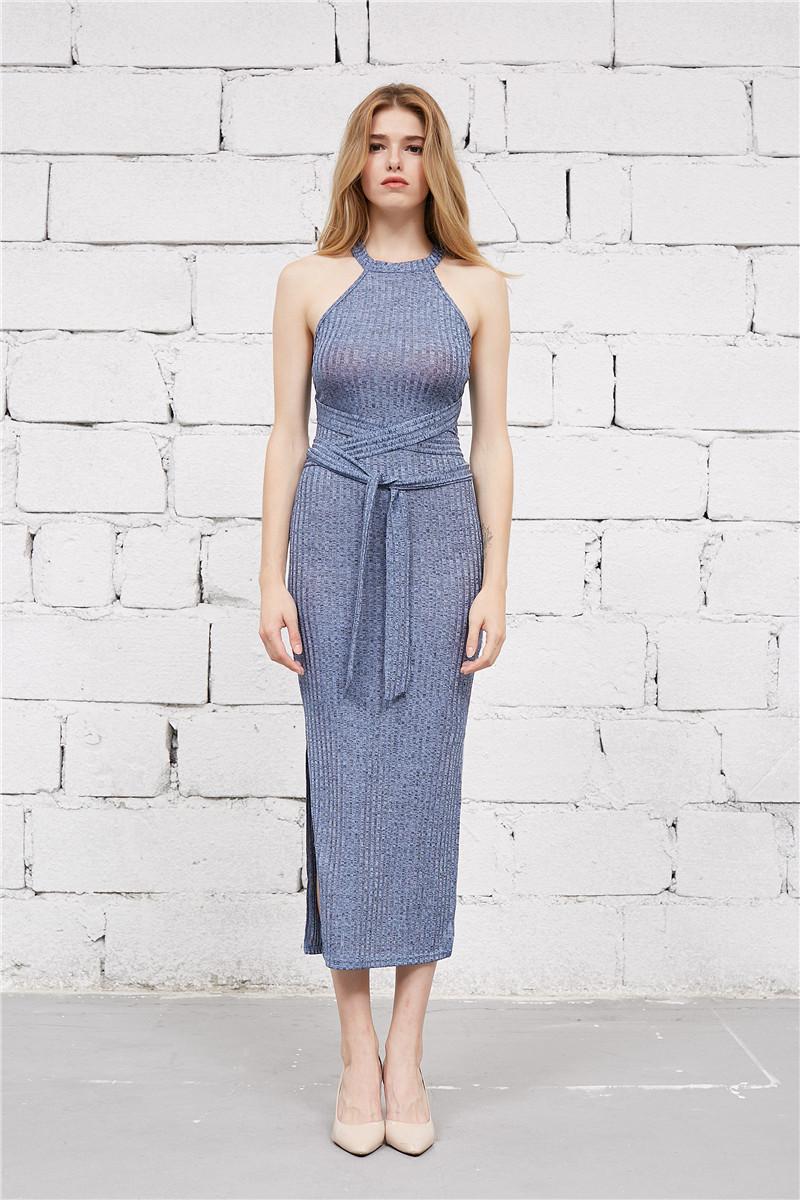 Colysmo Blue Racer Neck Ribbed Midi Dress Bandage Sash Wrap Bodycon Knit  Sweater Dresses Vestidos bf689a2fc
