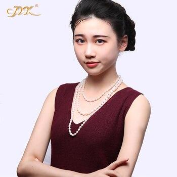 """JYX Elegante mecklaces AA Qualität 7-8mm Natur Oval Weiß Süßwasser Perle Halskette 16 ~ 64 """"party weihnachten geschenk"""