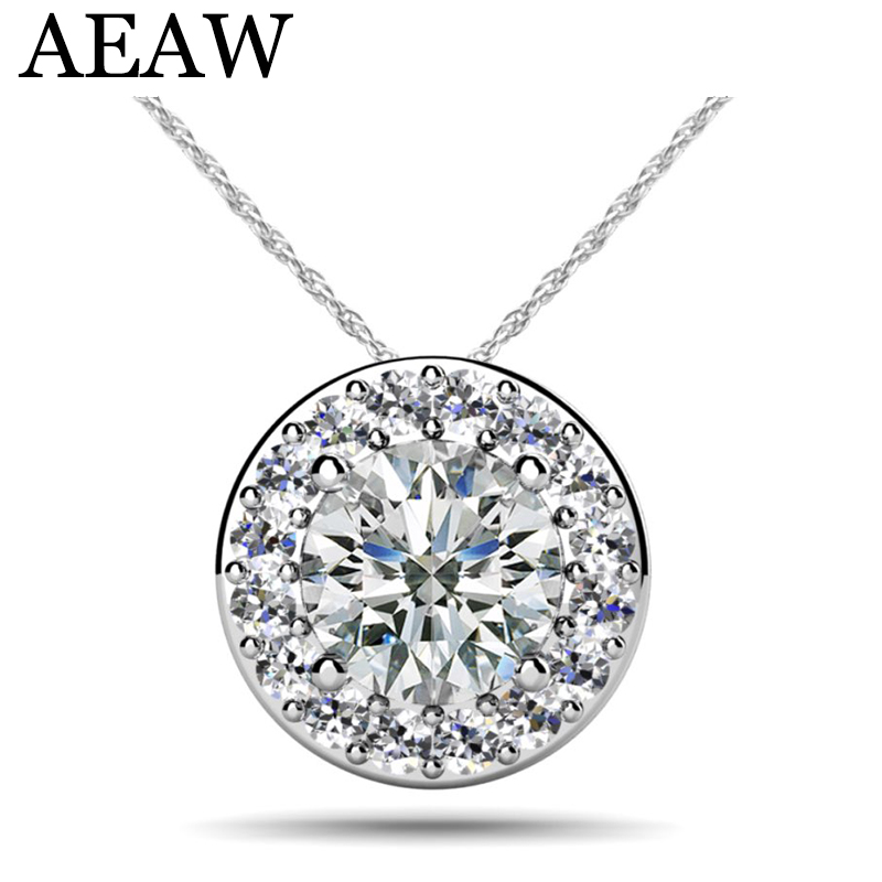 AEAW Real 14 White And Yellow Gold Lab Grown 4mm Moissanite Diamond Pendant with Chian Necklace For Women 18k 750 white gold moissanite pendant round cut lab grown moissanite diamond chain pendant necklace for women in fine jewelry