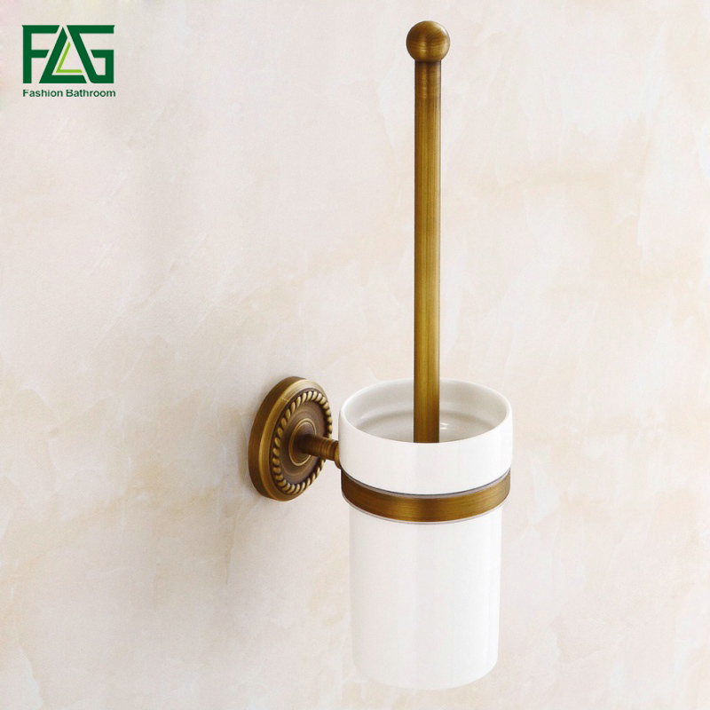 FLG Free Shipping Wholesale and Retail Wall Mount Antique Brass Toilet Brush Holder With Ceramic Cup Bathroom Accessories 80110
