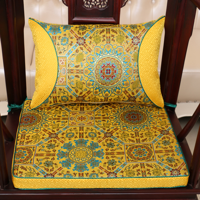 Ethnic Luxury Classic Thicken Seat Cushion For Sofa Seat Chair China Style  Real Silk Brocade Backrest