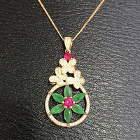 Qi Xuan_Fashion Jewelry_Colombian Green Stone Girl Dancing Necklaces_Rose Gold Color Pendant Necklaces_Factory Directly Sales