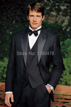 custom suit New Style Black Groom Tuxedos Notch Lapel Groomsmen Men Wedding Suits(Jacket+Pants+Tie+Vest)Free Shipping