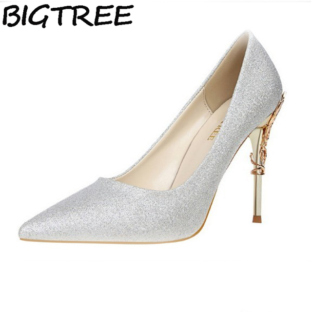 BIGTREE blue white silver pink high quality women pumps Sequined high heel metal thin heel stilettos wedding bridal satin shoes