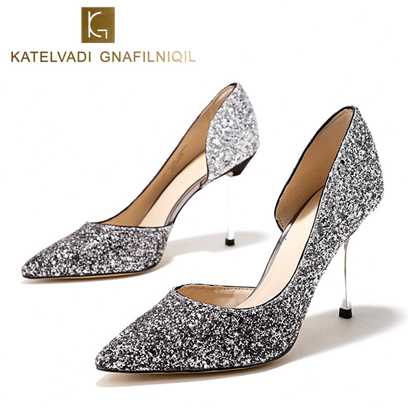 2018 Silver Shoes Woman 9CM High Heels Sexy Glitter Women Wedding Shoes Pumps Fashion Pointed Toe Ladies Pumps High Heels K-090 women s pumps high heeled shoes woman thin heels pointed toe silver and gold fashion sexy leather ol office shoes wedding shoes