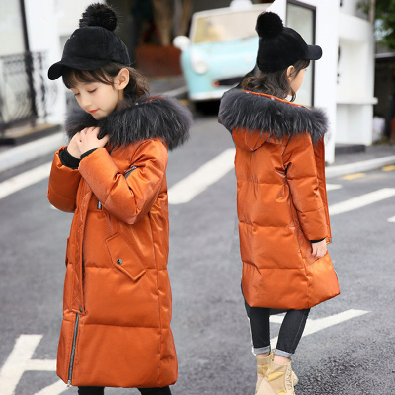 Fashion Children down Jacket For Girl Winter Coat Kids Clothes Warm Thick Fur Collar Hooded Long Teenage 5-14Y Parka Y10 russia winter boys girls down jacket boy girl warm thick duck down