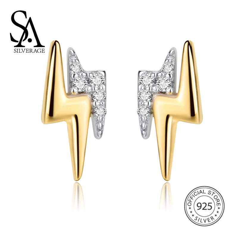 SA SILVERAGE 925 Sterling Silver Sky City Lightning Gold Color Stud Earrings For Women 2018 New Arrival Earrings