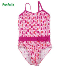 купить Funfeliz Girls Swimsuit 2018 Cute One piece Icecream Swimwear for Girl 2-10 Years Kids Swimming costume Children Bathing Suit дешево