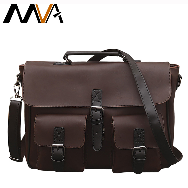 ФОТО MVA Vintage PU Leather Men Bags Business Briefcase Leather Laptop Bag 14 Travel Shoulder Crossbody Bag  Handbag Totes