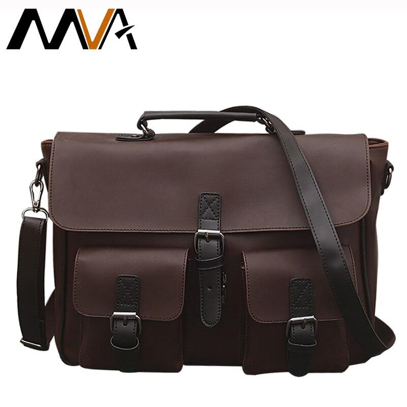 Mva vintage pu cuero de los hombres bolsas de cuero maletín de negocios bolsa de