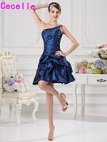 2019 Short One Shoulder A line Mini Cocktail Dresses With Straps One Shoulder Royal Blue Cocktail Dresses Party Dresses Cheap