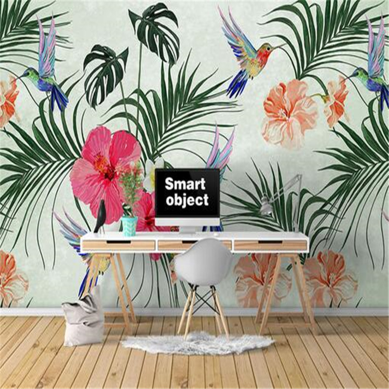 custom 3D mural wallpaper non-woven study background wall, Nordic hand-painted watercolor tropical tree 3D wall home decoration