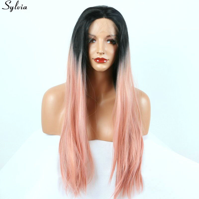 Sylvia Long Straight 1B Black Root Ombre Pink Pastel Two Tone Synthetic Lace Front Wigs Heat Resistant Middle Part Free Shipping