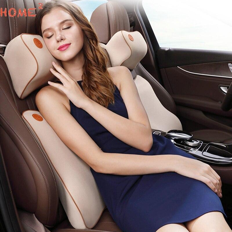 Mémoire Coton Cou de Siège de Voiture Oreiller De Massage Retour Lombaire Coussin de Soutien pour Ford Nissan Jeep Lexus BMW Audi Dodge De Voiture accessoires