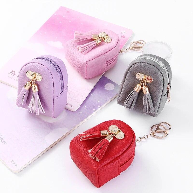 Women Fashion Korean PU Leather Zip-Top Coin Purse Card Case Keychain Ring