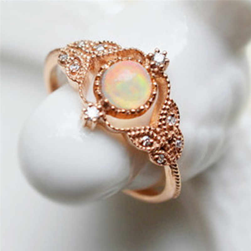 ROMAD Leaf Rings for Women Fire Opal Engagement Ring with AAA CZ Elegant Wedding Finger Rings Female Fashion Jewelry R4