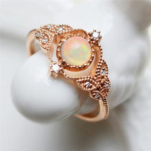 ROMAD Leaf Rings for Women Fire Opal Engagement Ring with AAA CZ Elegant Wedding Finger Rings Female Fashion Jewelry R4(China)