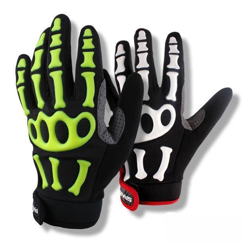 Spakct Pro Gel Full Finger Cycling font b Gloves b font Racing Riding Cycling Skeleton font