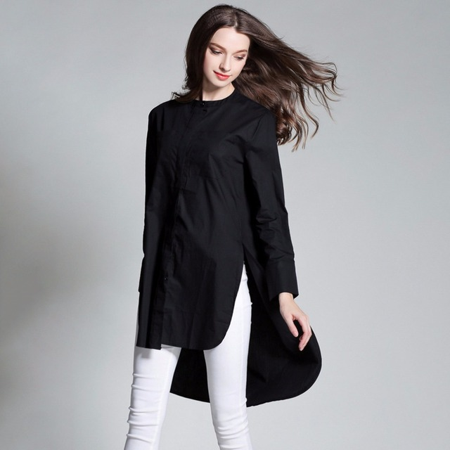 7f8712bc578 Women Plain Oversize Shirts Long Sleeve Asymmetrical Plus Size Cotton Shirt  With Slits XL to 4xl