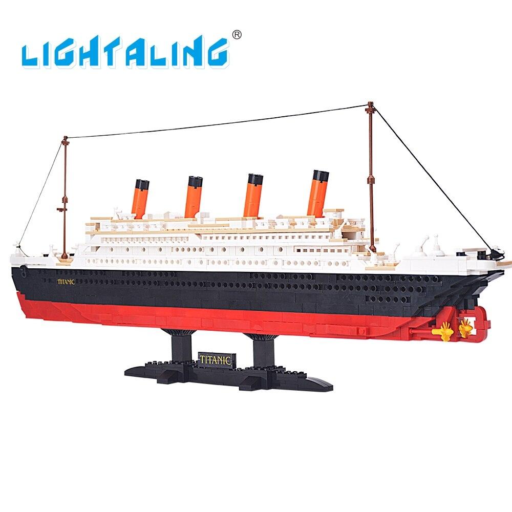 Lightaling 1021 шт. здания Конструкторы игрушка Круизное Титаник корабль лодка 3D модель образования игрушки со светодиодной подсветкой в комплект…