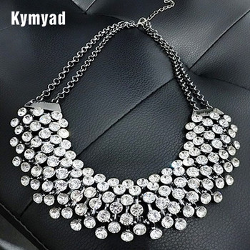 Kymyad Collier Femme Moda Colar de Cristal Declaração de Colares Mulheres Jóias Multilayer Chain link Colares Bijoux