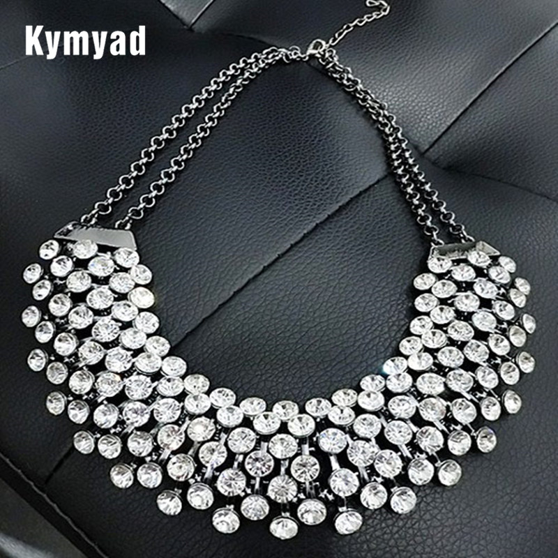 Kymyad Collier Femme Trendy Crystal Statement Necklaces Pend