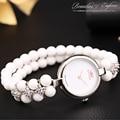 Top Luxury Brand Epozz Beauties Of  Emperor Natural Stone White Quartz Analog Beads 925 Silver Fashion Women Bracelet Watch Hour