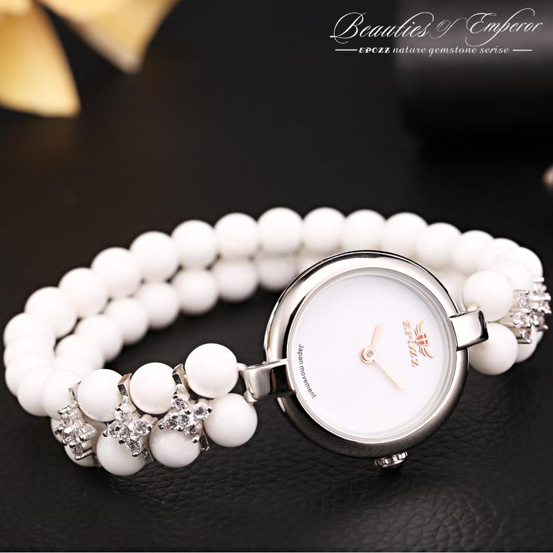 Prix pour Top Marque De Luxe Epozz Beautés De Empereur Pierre Naturelle Blanc Quartz Analogique Perles 925 Argent De Mode Femmes Bracelet Montre Heure