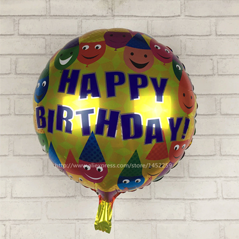 XXPWJ Free shipping  5pcs / lots of children's toys aluminum balloons happy birt