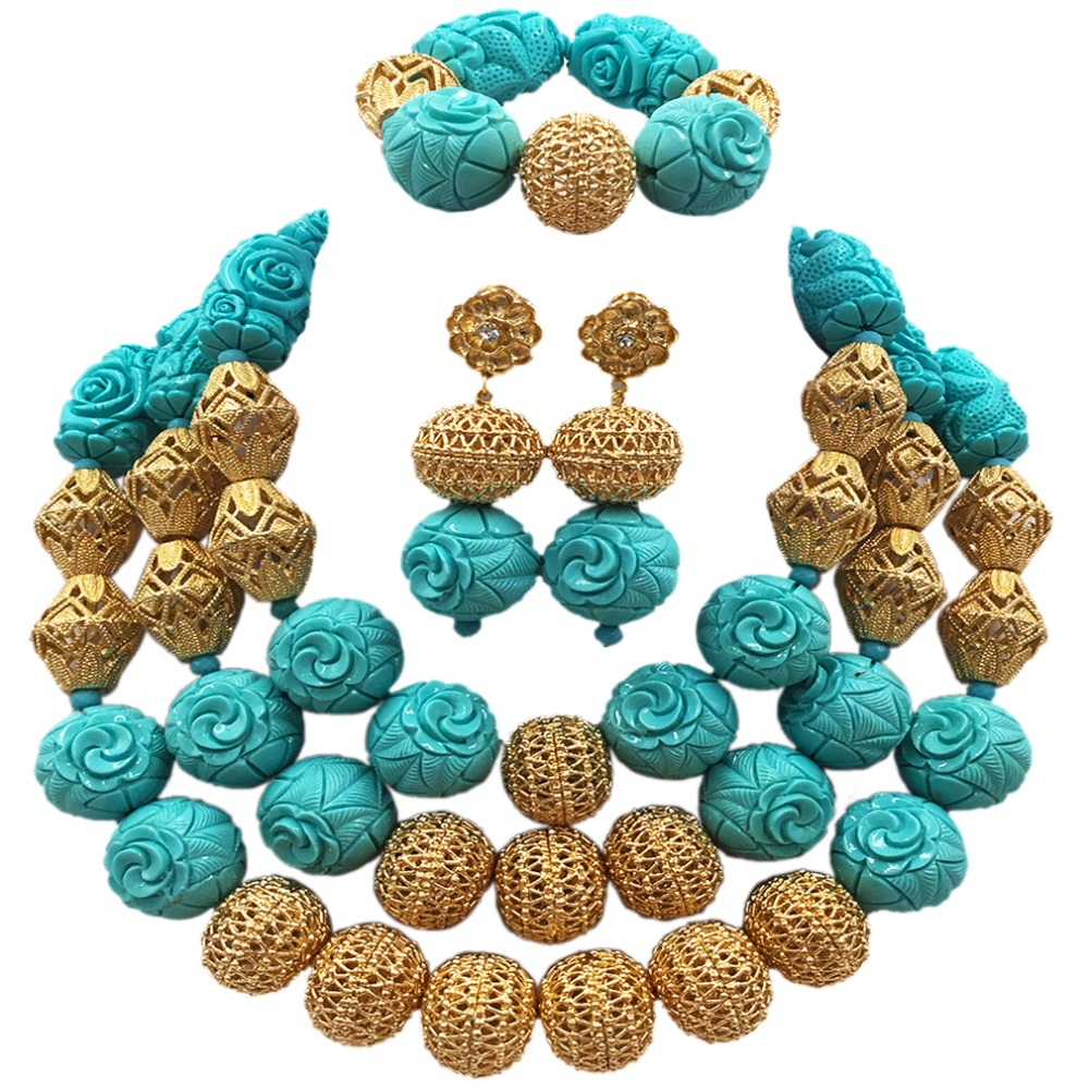 Teal Green Artificial Coral Beads Nigerian Wedding African Jewelry Sets Bold Statement Necklace Set Chunky ACB-20Teal Green Artificial Coral Beads Nigerian Wedding African Jewelry Sets Bold Statement Necklace Set Chunky ACB-20