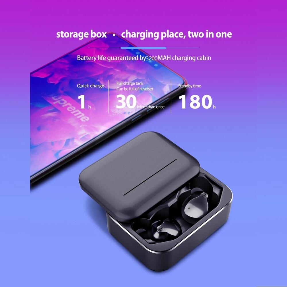 Femperna Bluetooth słuchawki Fingerprint Touch 5.0 3D bezprzewodowy zestaw słuchawkowy stereo z 3200mAh skrzynka do ładowania sport redukcja szumów