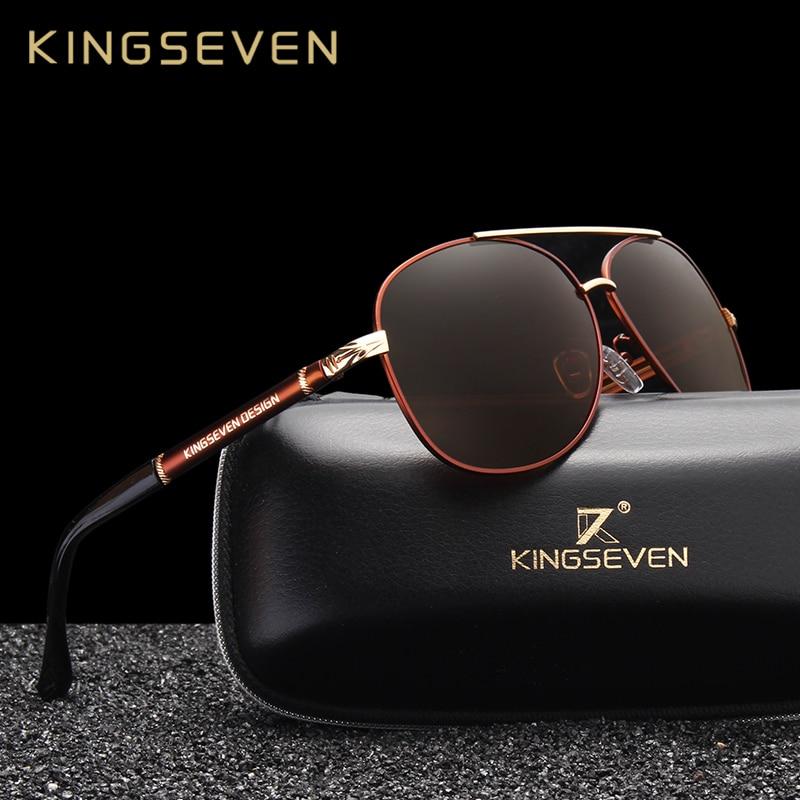 KINGSEVEN Nuevo Diseño Aluminio Magnesio Gafas de sol de los hombres Revestimiento polarizado Gafas de sol Gafas oculos Masculinas Gafas de conducción Oculos