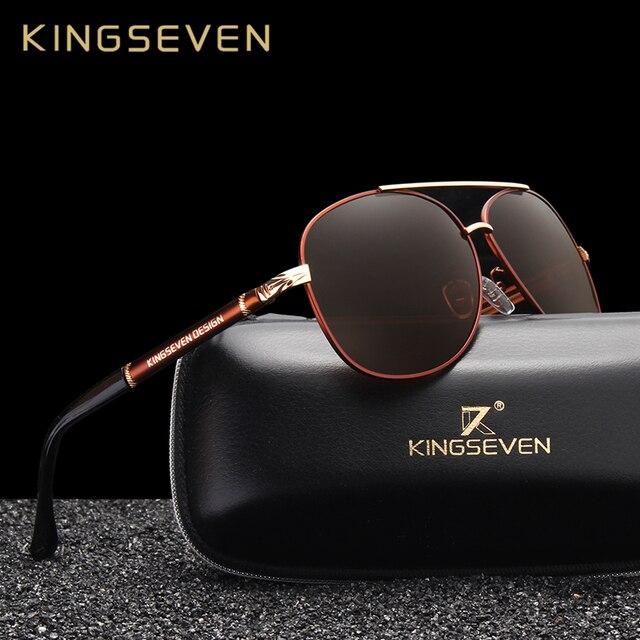 8b46591d19c4a KINGSEVEN Novo Design de óculos de Sol Revestimento Polarizada Espelho  Óculos de Sol dos homens de