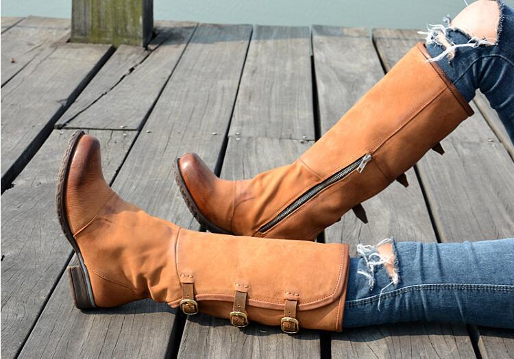 Coffee Otoño Toe Knight Alta Viejo Calidad In Moda Rodilla Square Boot brown Color Mujeres Hacer Invierno Auténtico Prova coffee In Perfetto Cuero Plush Limpie In Leather Botas Hq6wCC