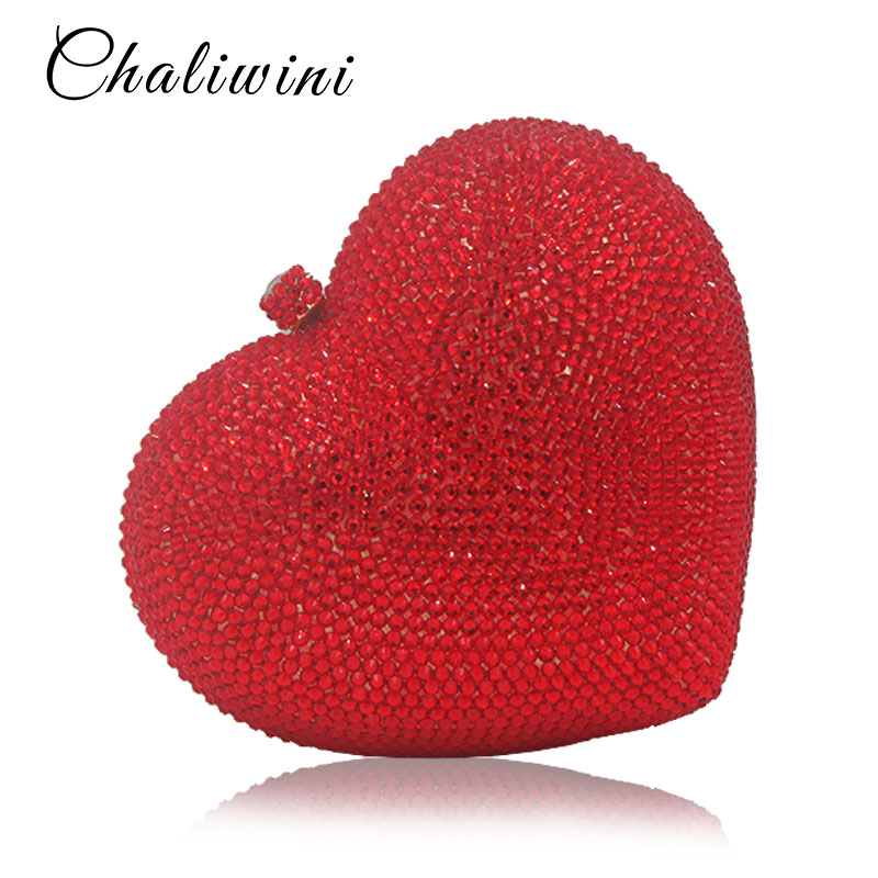 Luxury Red Heart Shape Crystal Women Clutch Bag Rhinestone Evening Bag Party Purse Heart Shaped Diamond Ladies Wedding Bag heart shape red crystal rhinestone full of evening bag women clutch fashion shoulder chain metal purse hot new party hand bags