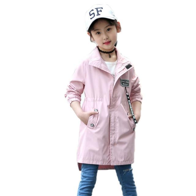 Для девочек весенние куртки 2018 новая детская верхняя одежда с рисунком для девочек Тренч Куртки отложной воротник Дети ветровка От 4 до 13 лет
