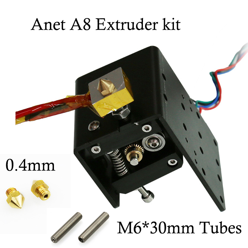 Anet A8 A6 Head MK8 Extruder Motor J-head Hotend+0.4mm Nozzle+M6*30mm/40mm Teflon Tubes for Reprap makerbot i3 3d printer parts