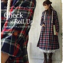 acf92a6f4771 Giapponese mori girl primavera dress plaid fluido dell annata con cappuccio  allentato vestiti di un