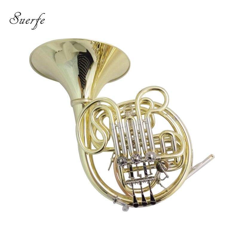 Trompa profesional de instrumentos musicales de waldhorn con caja de 4 válvulas corno francés doble F/Bb de cuerno francés 103