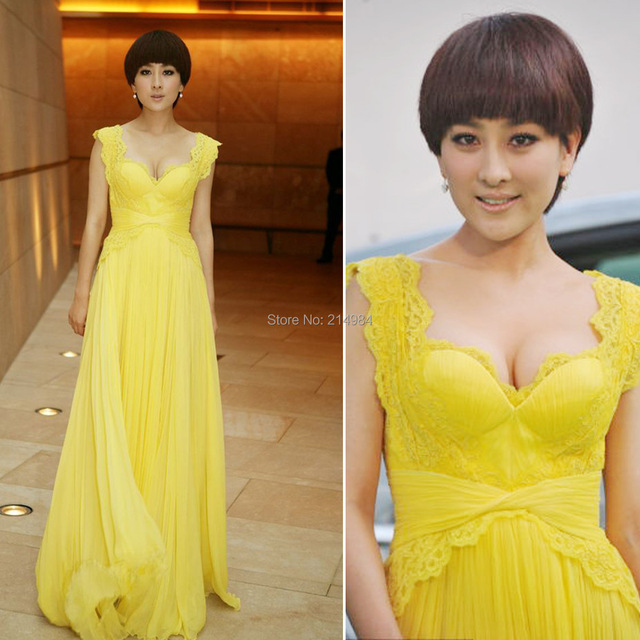 2015 New Arrival Yellow Long Chiffon A-line Wide Straps Lace Formal Evening Dress Star's Red Carpet Dresses