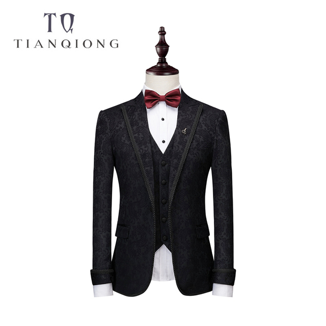 Jackets+Pants+Vests Black Suit Men 2018 Slim Fit Wedding Suits for Men 3 Piece Bridegroom Suit Luxury Brand Party Prom Suits