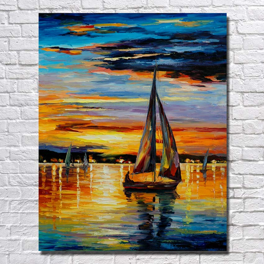 Sailboat Sunset Oil Painting