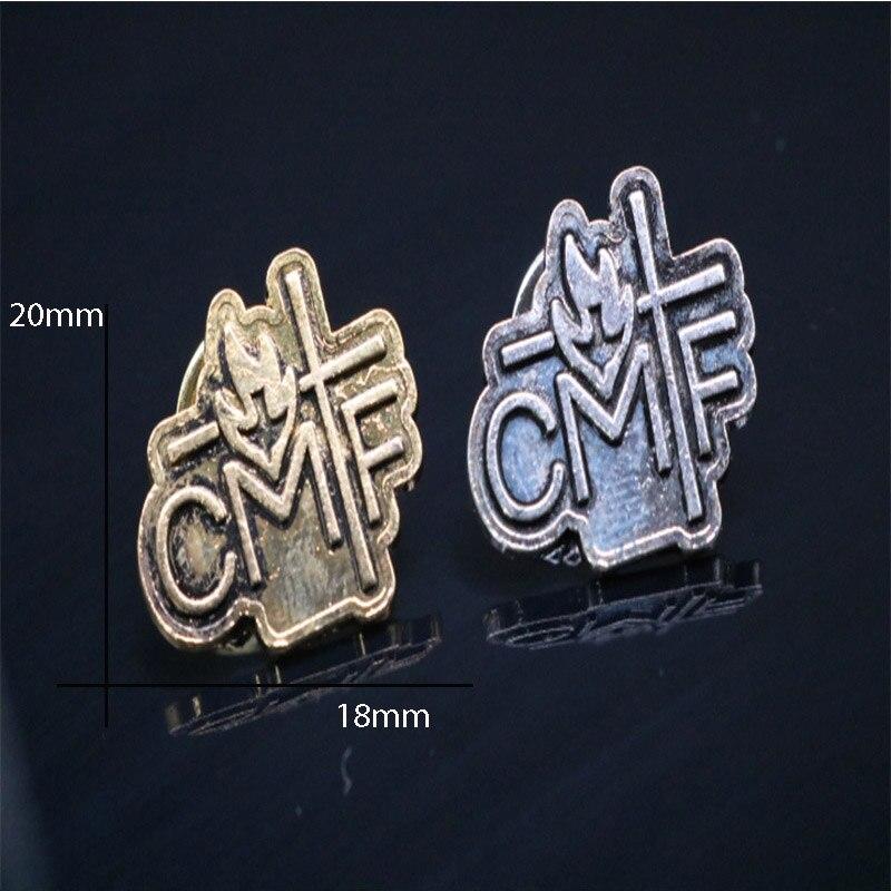 100 Stück/heiligen Gral Saint Christus Logo Metall Dove Kreuz Abzeichen Kleidung Retro Frieden Dove Kreuz Brosche