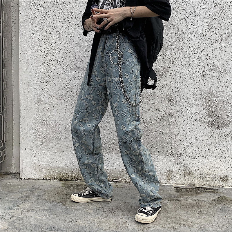 2019 Summer Men's New Trousers Wash Baggy Blue Color   Jeans   Streetwear Flower Printing Retro Cowboy Straight Pants Size M-2XL
