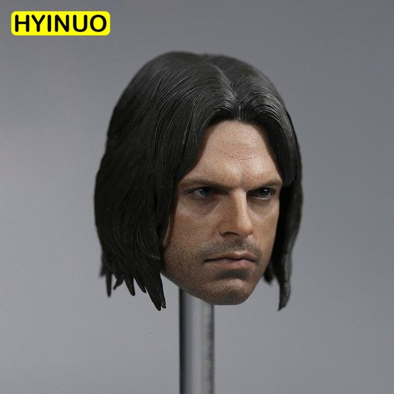 "Custom 1/6 Scale Captain Winter Soldier Bucky Barnes Sebastian Stan Head Sculpt Headplay for 12"" Action Figure Body Doll Toys"