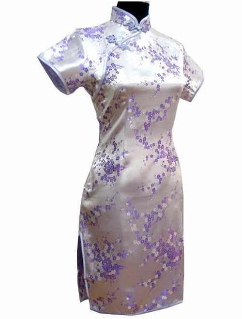 Black Traditional Chinese Dress Mujer Vestido Women's Satin Qipao Mini Cheongsam Flower Size S M L XL XXL XXXL 4XL 5XL 6XL J4039