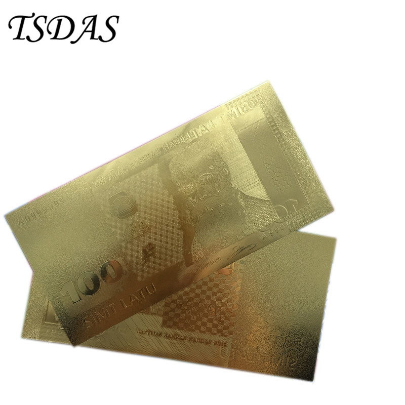 Latvia 100 Lat Banknote 24k Gold Collectible in Gold Versions , Fake Banknotes 10PCS Fre ...